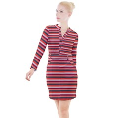 Stripey 13 Button Long Sleeve Dress