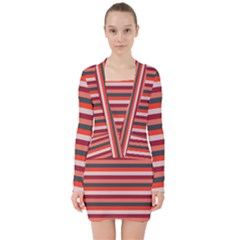 Stripey 13 V-neck Bodycon Long Sleeve Dress
