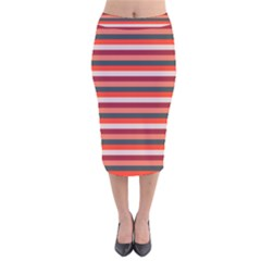 Stripey 13 Velvet Midi Pencil Skirt