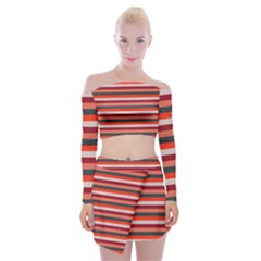 Stripey 13 Off Shoulder Top with Mini Skirt Set