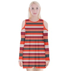 Stripey 13 Velvet Long Sleeve Shoulder Cutout Dress
