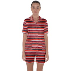 Stripey 13 Satin Short Sleeve Pyjamas Set