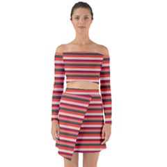 Stripey 13 Off Shoulder Top with Skirt Set