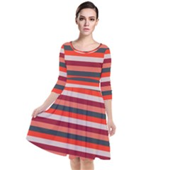 Stripey 13 Quarter Sleeve Waist Band Dress