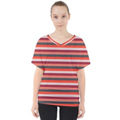 Stripey 13 V-Neck Dolman Drape Top