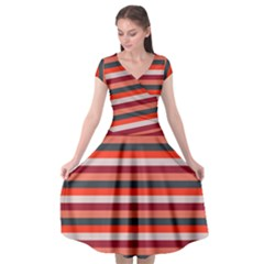 Stripey 13 Cap Sleeve Wrap Front Dress