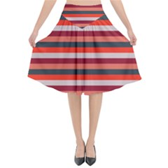 Stripey 13 Flared Midi Skirt