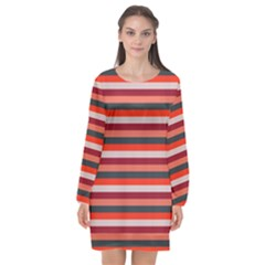 Stripey 13 Long Sleeve Chiffon Shift Dress
