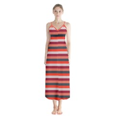 Stripey 13 Button Up Chiffon Maxi Dress