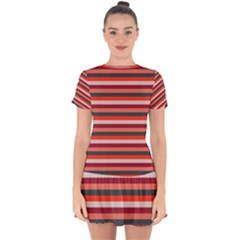 Stripey 13 Drop Hem Mini Chiffon Dress