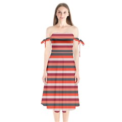 Stripey 13 Shoulder Tie Bardot Midi Dress