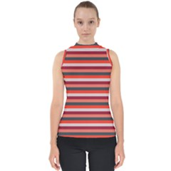 Stripey 13 Mock Neck Shell Top