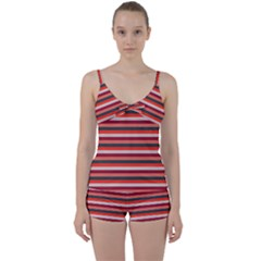 Stripey 13 Tie Front Two Piece Tankini