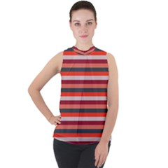 Stripey 13 Mock Neck Chiffon Sleeveless Top