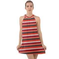 Stripey 13 Halter Tie Back Chiffon Dress