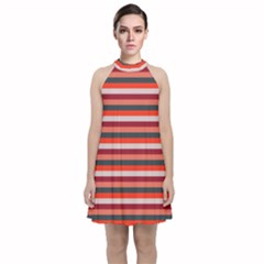 Stripey 13 Velvet Halter Neckline Dress