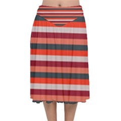 Stripey 13 Velvet Flared Midi Skirt