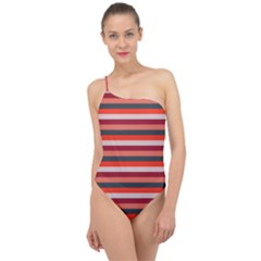 Stripey 13 Classic One Shoulder Swimsuit