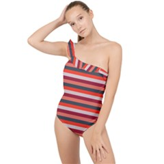 Stripey 13 Frilly One Shoulder Swimsuit