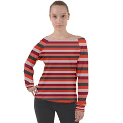 Stripey 13 Off Shoulder Long Sleeve Velour Top