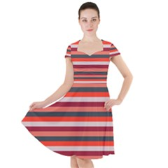 Stripey 13 Cap Sleeve Midi Dress
