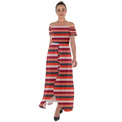 Stripey 13 Off Shoulder Open Front Chiffon Dress