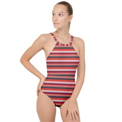 Stripey 13 High Neck One Piece Swimsuit