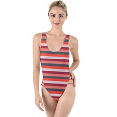 Stripey 13 High Leg Strappy Swimsuit