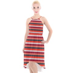 Stripey 13 High-Low Halter Chiffon Dress
