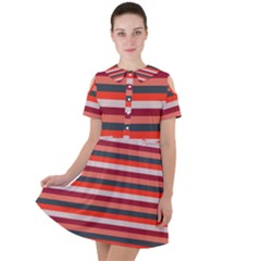 Stripey 13 Short Sleeve Shoulder Cut Out Dress