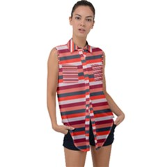 Stripey 13 Sleeveless Chiffon Button Shirt