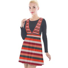 Stripey 13 Plunge Pinafore Velour Dress