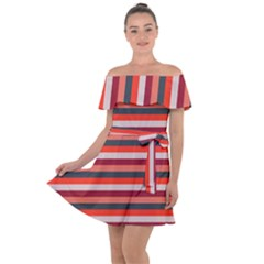 Stripey 13 Off Shoulder Velour Dress