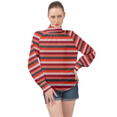 Stripey 13 High Neck Long Sleeve Chiffon Top