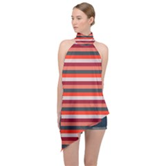 Stripey 13 Halter Asymmetric Satin Top