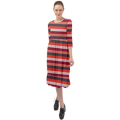 Stripey 13 Ruffle End Midi Chiffon Dress