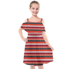 Stripey 13 Kids  Cut Out Shoulders Chiffon Dress