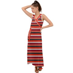 Stripey 13 V-Neck Chiffon Maxi Dress