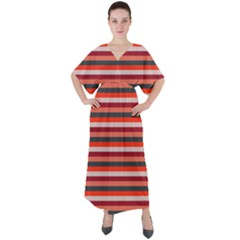 Stripey 13 V-Neck Boho Style Maxi Dress