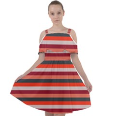 Stripey 13 Cut Out Shoulders Chiffon Dress