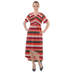 Stripey 13 Front Wrap High Low Dress