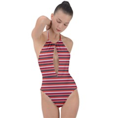 Stripey 13 Plunge Cut Halter Swimsuit