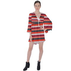 Stripey 13 V-Neck Flare Sleeve Mini Dress