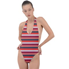 Stripey 13 Backless Halter One Piece Swimsuit