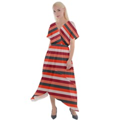 Stripey 13 Cross Front Sharkbite Hem Maxi Dress