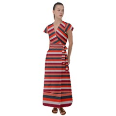 Stripey 13 Flutter Sleeve Maxi Dress