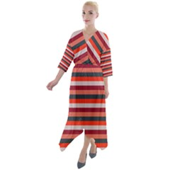 Stripey 13 Quarter Sleeve Wrap Front Maxi Dress