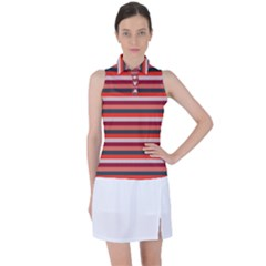 Stripey 13 Women s Sleeveless Polo Tee