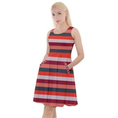 Stripey 13 Knee Length Skater Dress With Pockets