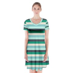Stripey 14 Short Sleeve V-neck Flare Dress by anthromahe